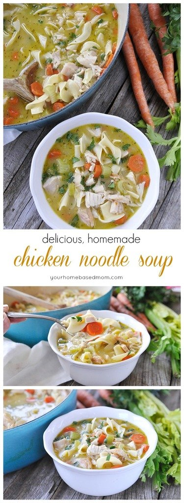Delicious, homemade chicken noodle soup