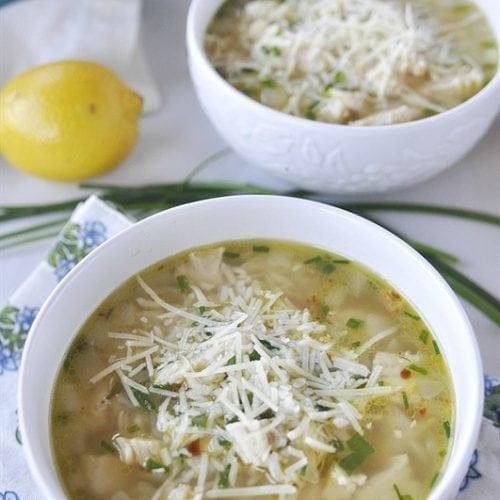 Lemon Parmesan Chicken and Rice Soup
