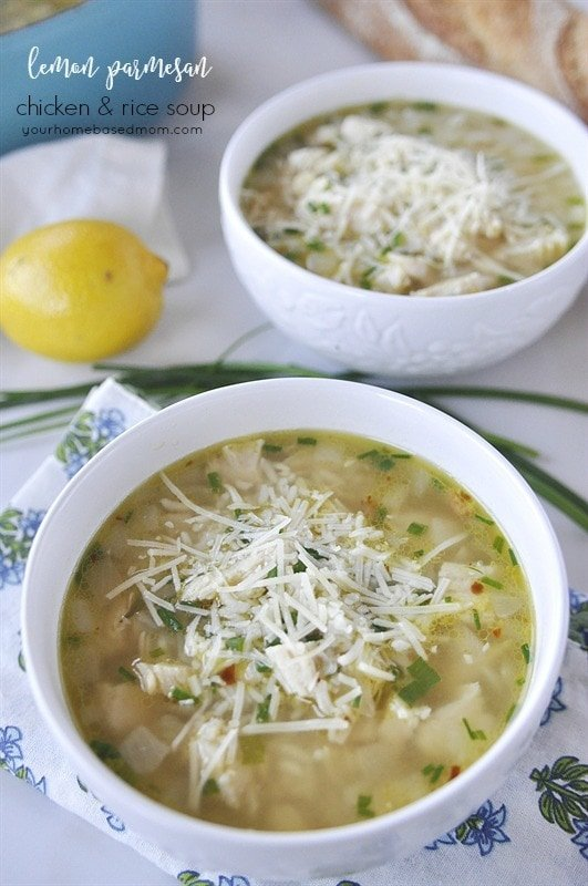 Lemon Chicken and Rice Soup topped with parmesan cheese