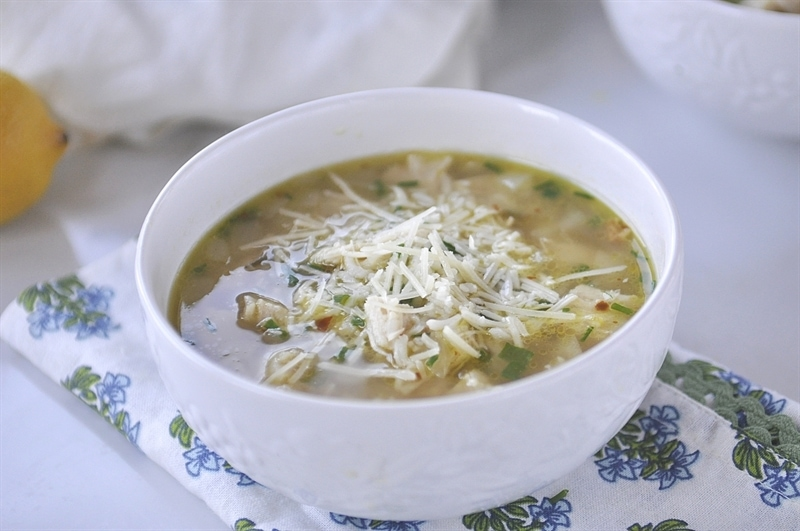 Lemon Chicken and Rice Soup Bowl
