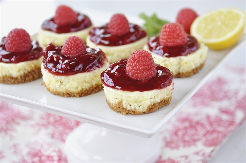 Lemon Raspberry Mini Cheesecake Bites