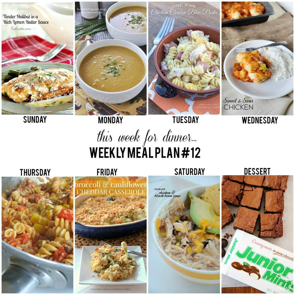 Weekly Menu Plan 12 I Heart Nap Time