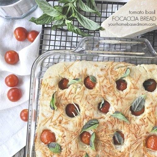 Easy Tomato Basil Focaccia Bread