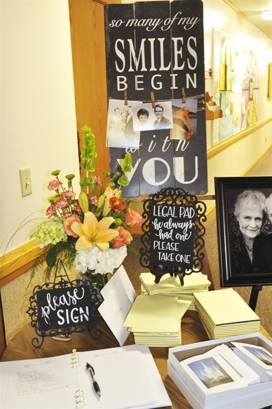 Funeral Sign in Table