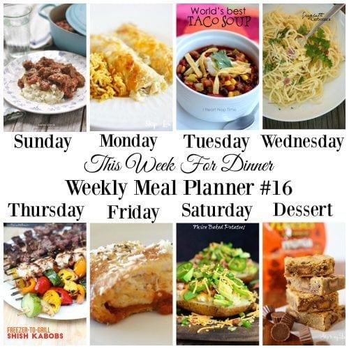 This Week for Dinner}Weekly Meal Plan #16