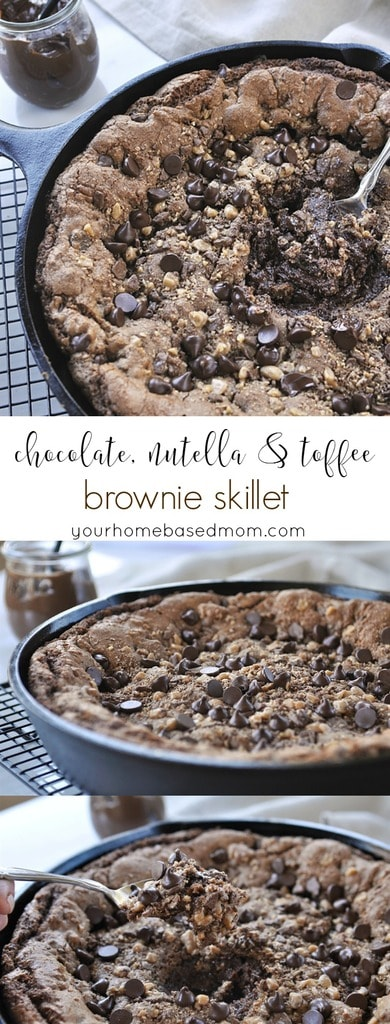 CHocolate, Nutella & Toffee Brownie Skillet