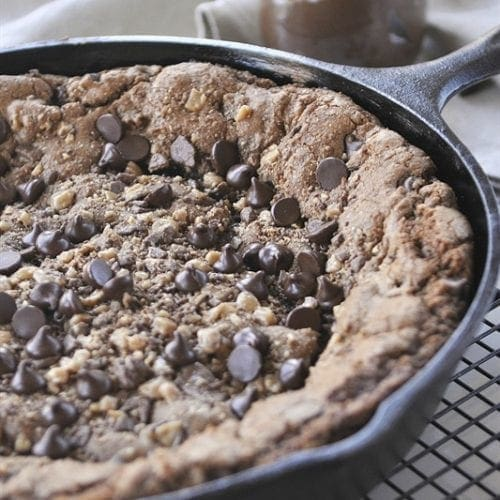Chocolate, Nutella & Toffee Skillet Brownie