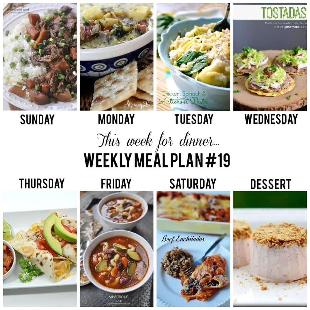 What's for dinner this week? Use this Weekly Meal Plan #19