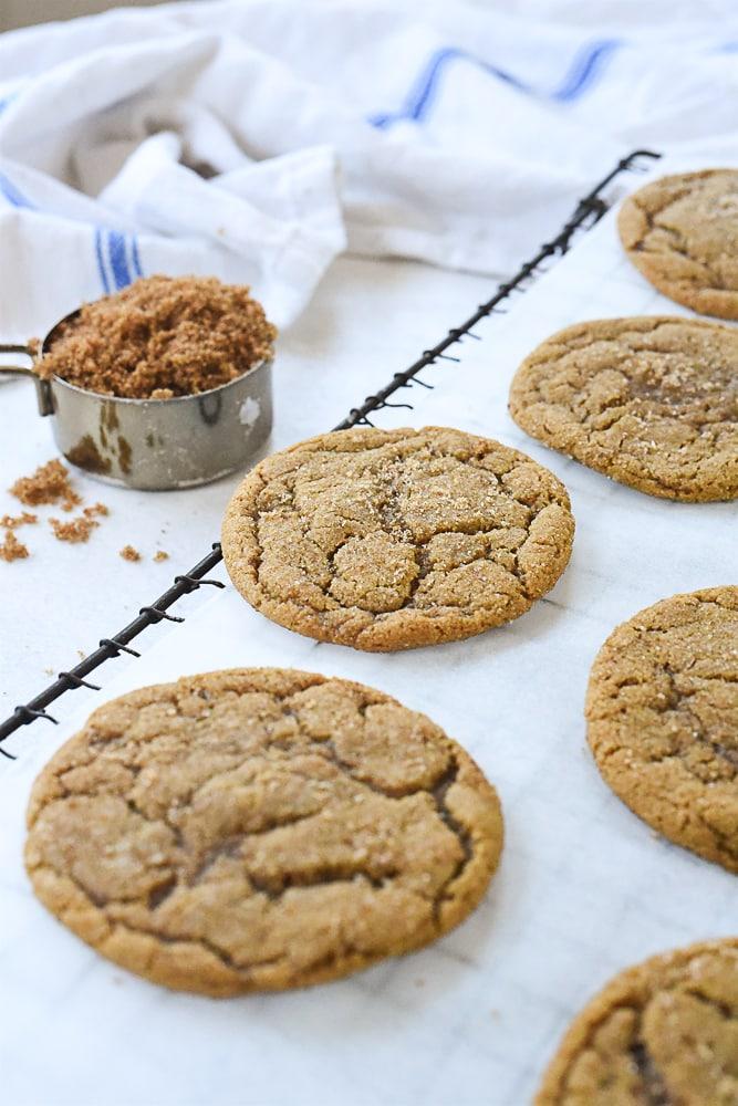 brown sugar cookies cooling