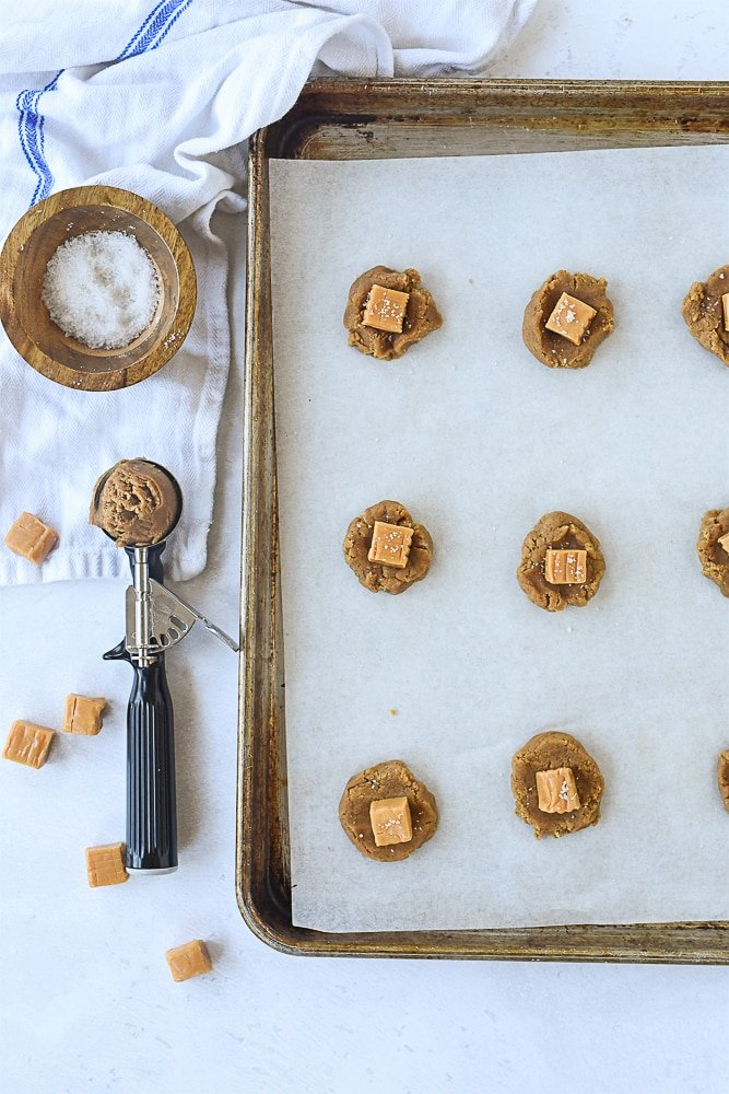 brown sugar cookies on a cookie sheet