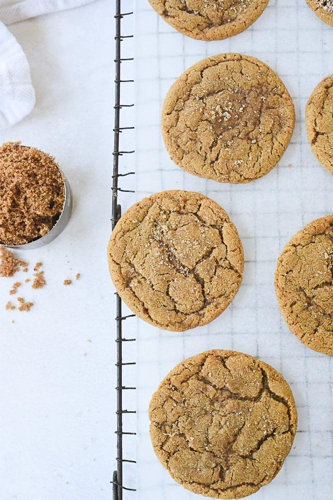 brown sugar cookies on a cooling rack