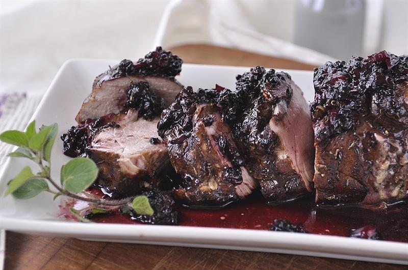 Blackberry Balsamic Herbed Pork Tenderloin