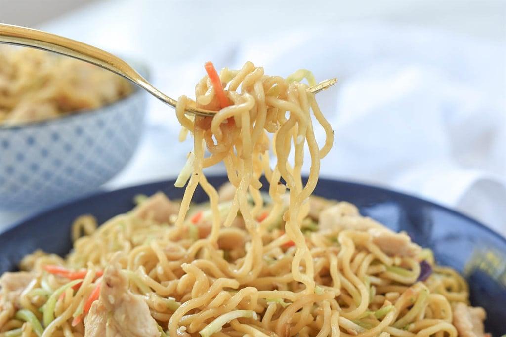 fork full of yakisoba noodles