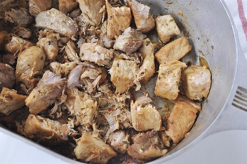 Pork Carnitas in roasting pan