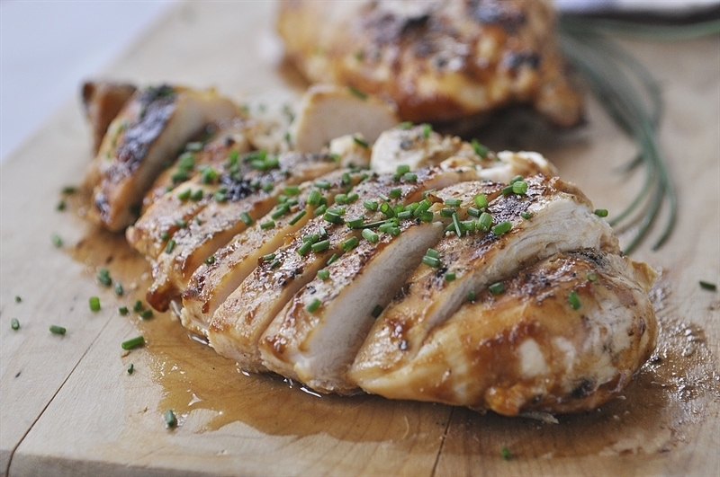 sliced honey mustard chicken with chives