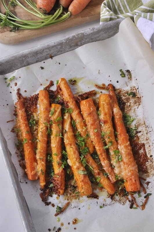 sheet pan of Parmesan Roasted Carrots