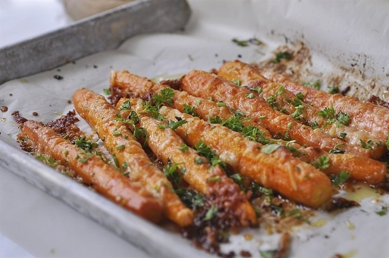roasted carrots topped with parsley