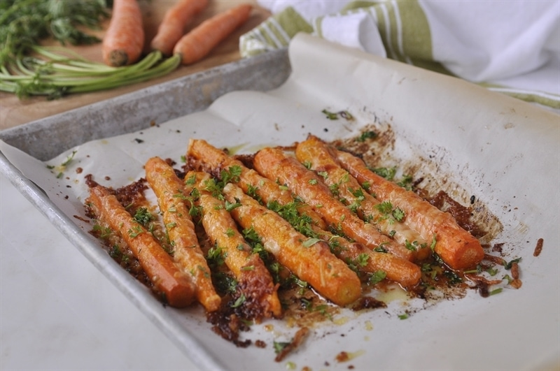 Parmesan Roasted Carrots cooling on baking sheet