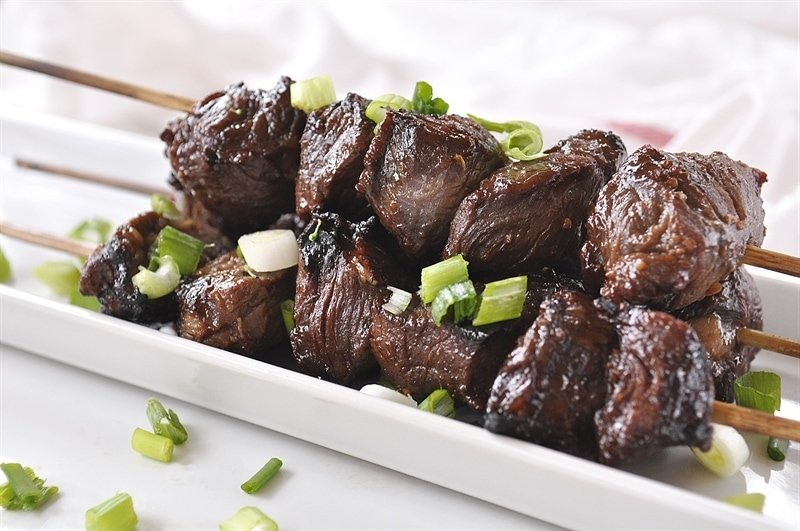 Teriyaki marinade beef skewers