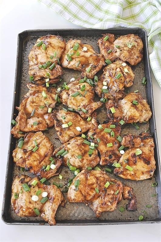 pan full of grilled huli huli chicken
