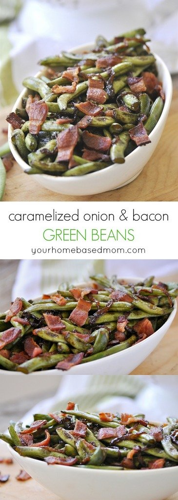 Caramelized Onion and Bacon Green Beans are the perfect side dish.