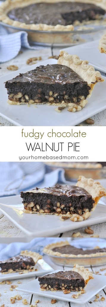 This fudgy chocolate walnut pie is a brownie in pie form. A yummy recipe.