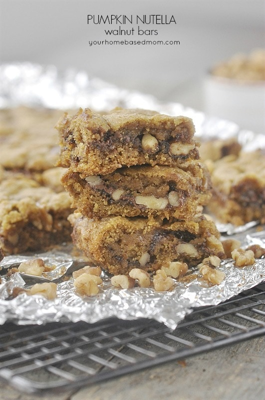 pumpkin bars with nutella and walnuts