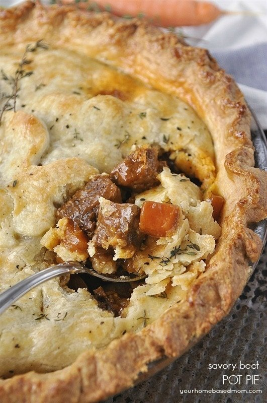 Savory Beef Pot Pie is pure comfort food at it's finest. Just like ...