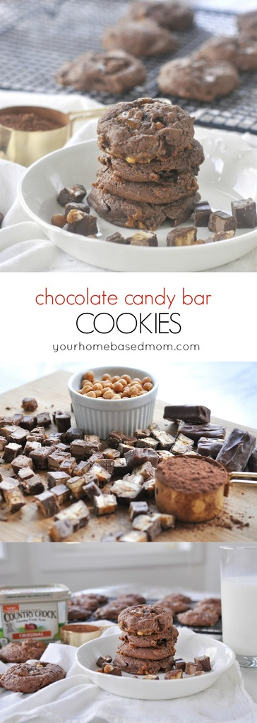 These chocolate candy bar cookies are a match made in heaven - candy and cookies all in one!
