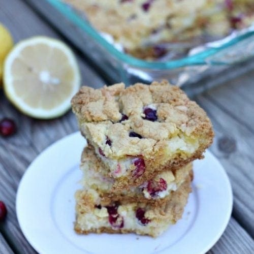 Cranberry Lemon Gooey Bars are a the perfect holiday treat