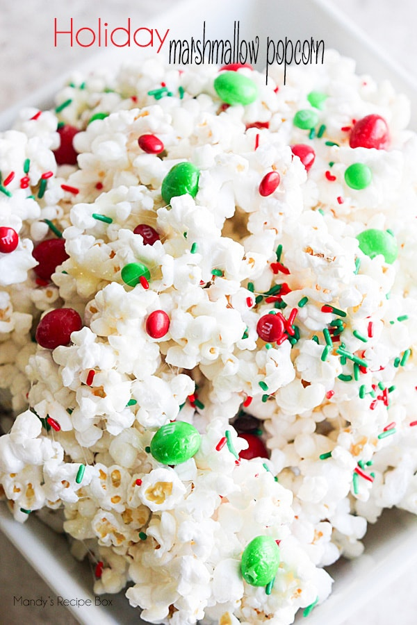 Christmas Popcorn Recipes.Holiday Marshmallow Popcorn