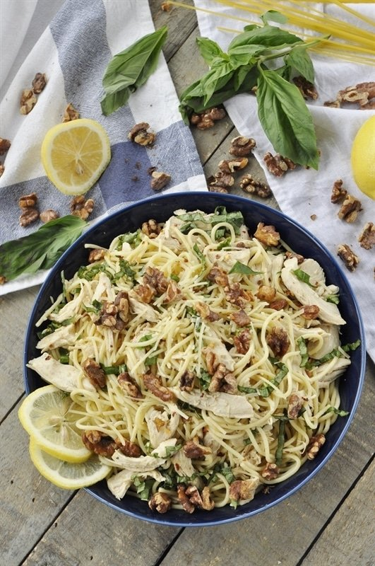lemon pasta with chicken basil and toasted walnuts