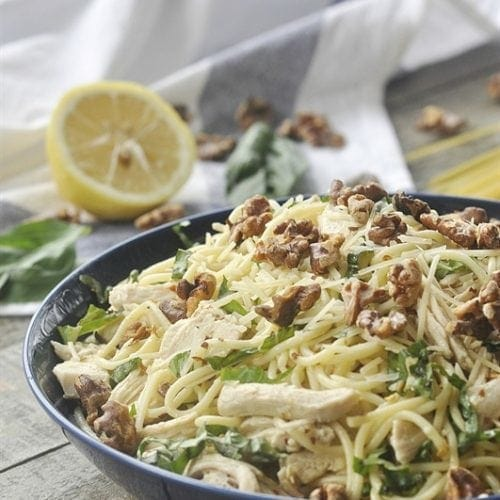 Lemon Basil Pasta with Toasted Walnuts.