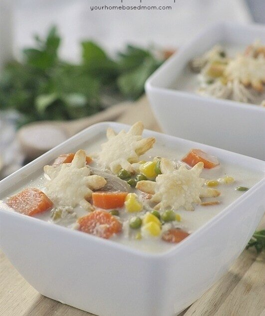 Slow Cooker Chicken Pot Pie Soup in a white bowl