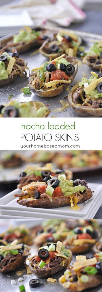 Nacho Loaded Potato Skins are the perfect game day food!