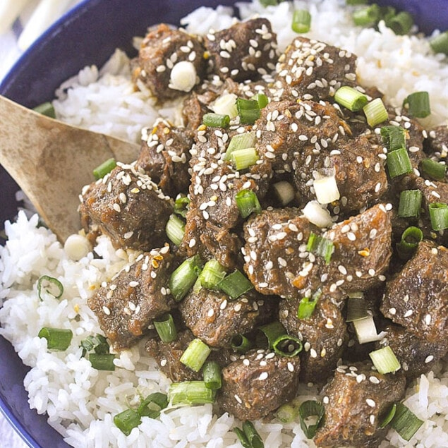 bowl of rice and teriyaki beef