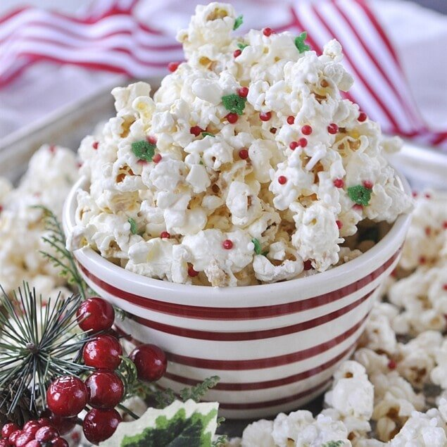 bowl of sugar cookie popcorn