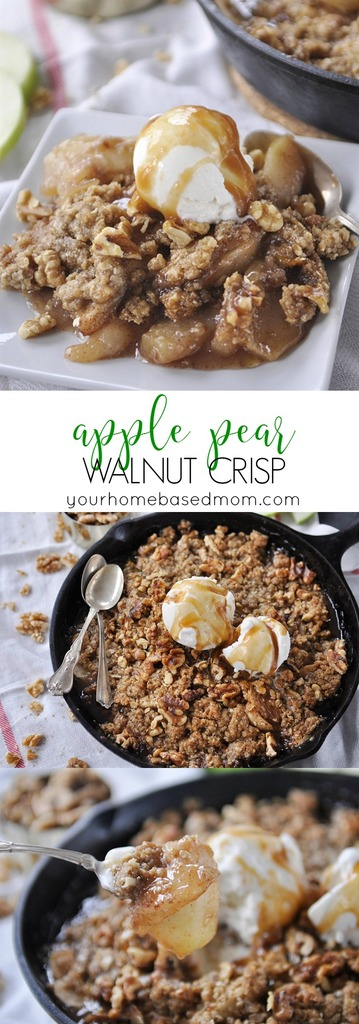 Apple Pear Walnut Crisp has amazing flavor and texture. And when it's topped with ice cream and caramel sauce it's pretty much perfection.