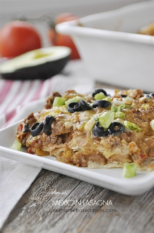 Mexican Lasagna is a fun flavor twist on a classic dish