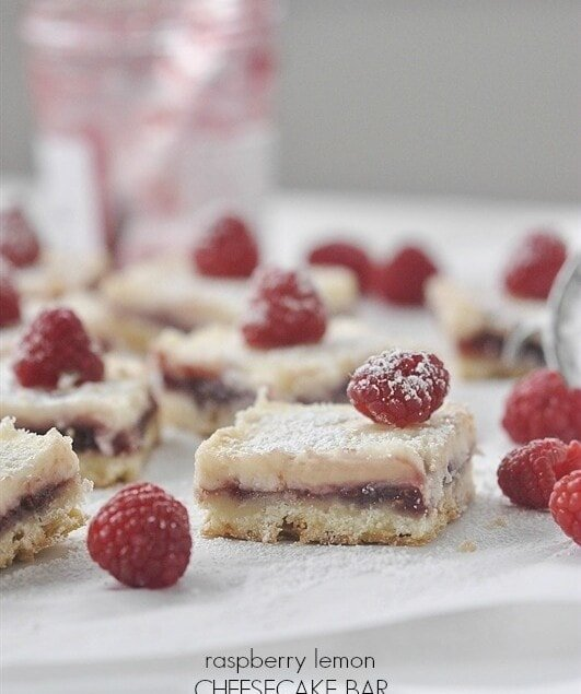Raspberry Lemon Cheesecake Bars are pretty and delicious