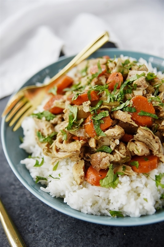 Slow Cooker Chicken Curry with carrots and basil