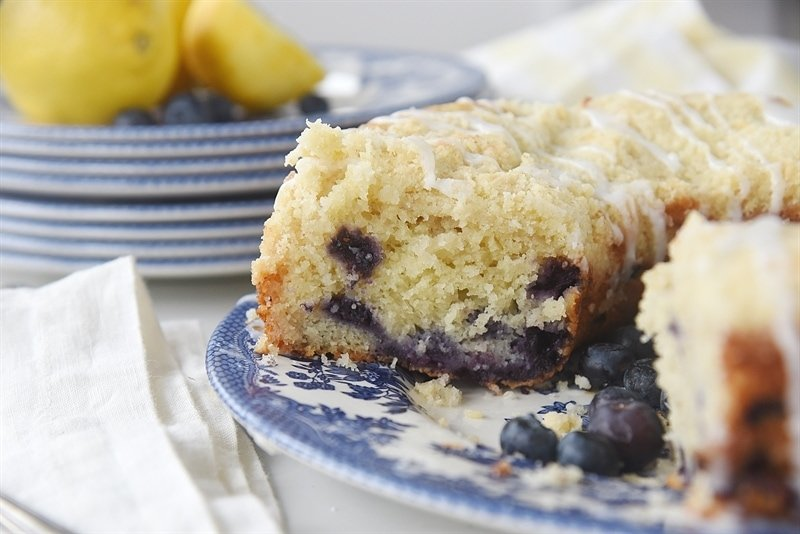 close up of the Lemon Blueberry Coffee Cake