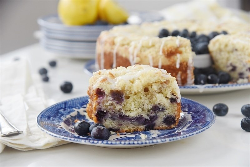 a slice of glzed Lemon Blueberry Coffee Cake