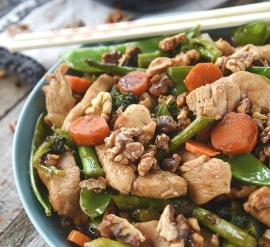 Toasted Walnut Asian Chicken and Vegetables
