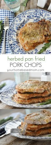 Herved Pan Fried Pork Chops are a quick and easy dinner idea.