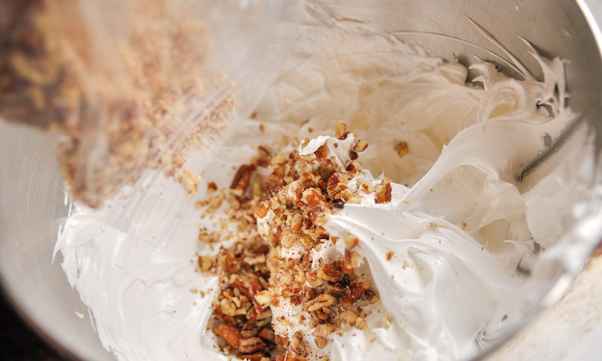adding nuts to meringue