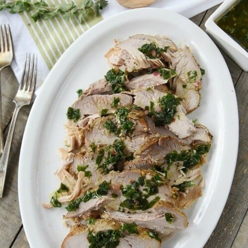 Slow Cooker Pork with Basil Sauce