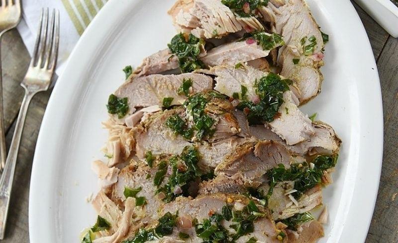 slow cooker pork with basil sauce