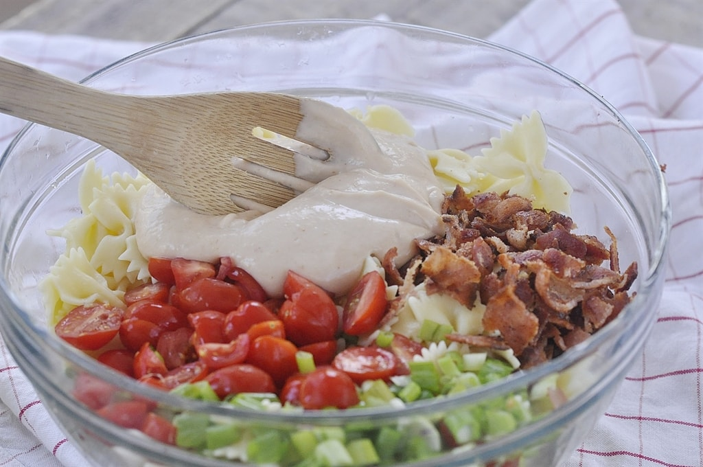 BLT Pasta Salad Ingredients in a bowl