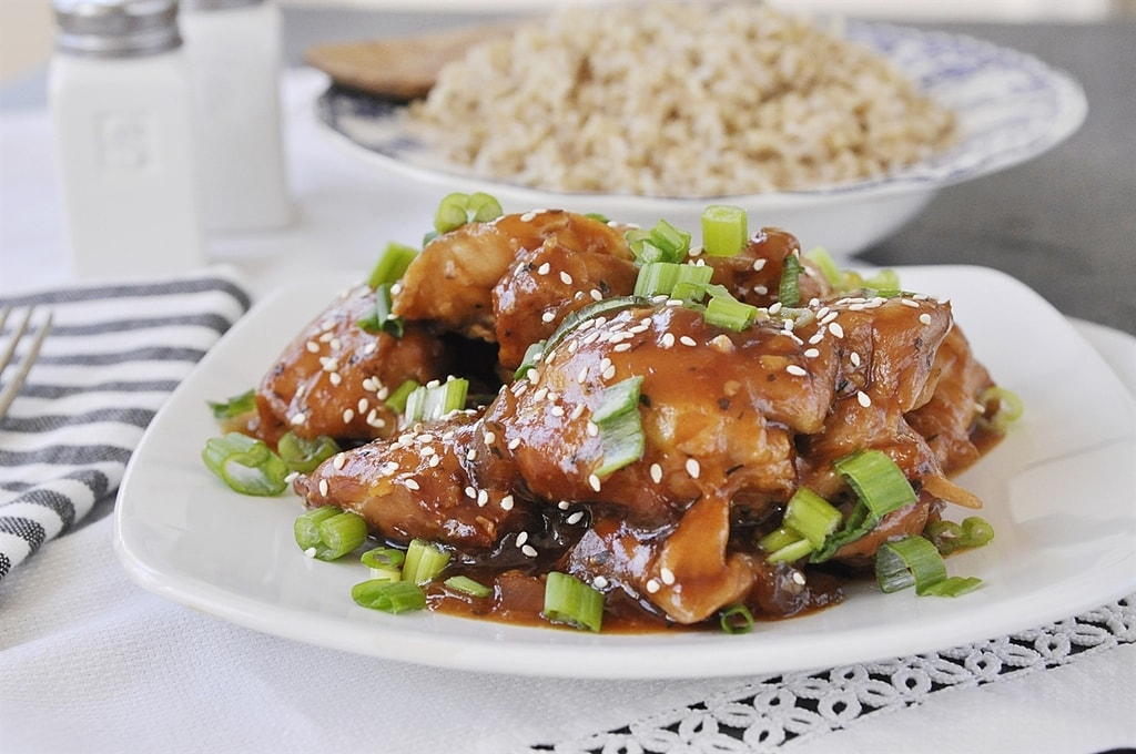 Slow Cooker Honey Garlic Chicken and brown rice